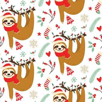 Christmas sloth seamless pattern