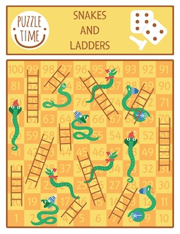 Christmas snakes and ladders board game for children with cute animals. educational boardgame with serpents in hats and scarfs. funny winter holiday printable activity.