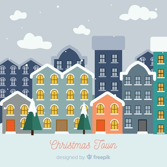 Christmas snow buildings background