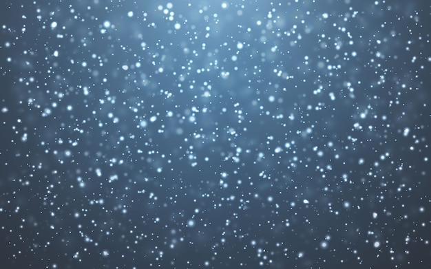 크리스마스 눈. 파란색 바탕에 떨어지는 눈송이. 강설량.