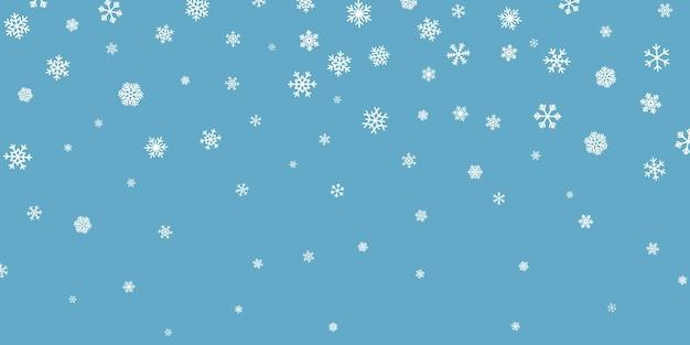 크리스마스 눈. 진한 파란색 배경에 떨어지는 눈송이. 강설량. 벡터 일러스트 레이 션.