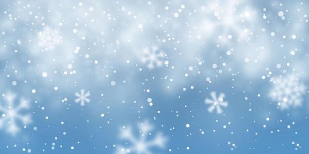 クリスマスの雪。紺色の背景に降る雪。降雪。ベクトルイラスト。