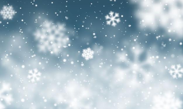 クリスマスの雪。紺色の背景に降る雪。降雪。