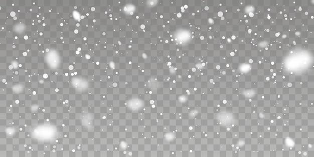 クリスマスの雪。透明な背景に降る雪。降雪。ベクトルイラスト。