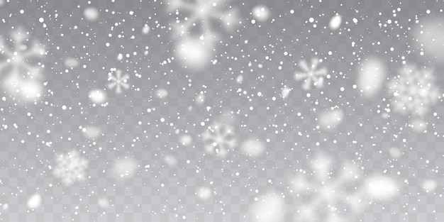 크리스마스 눈. 투명 한 배경에 떨어지는 눈송이. 강설량.