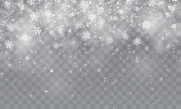 Christmas snow. falling snowflakes on transparent background. snowfall.