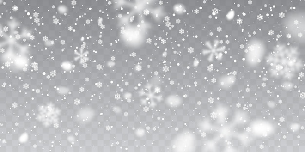 Christmas snow. falling snowflakes on transparent background. snowfall.