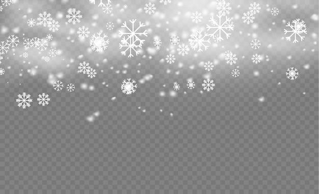 크리스마스 스노우 플레이크 패턴. 눈, 다양한 모양과 형태의 눈송이. 투명 한 배경에 많은 흰색 차가운 조각 요소. 마법의 하얀 눈이 텍스처. 삽화.