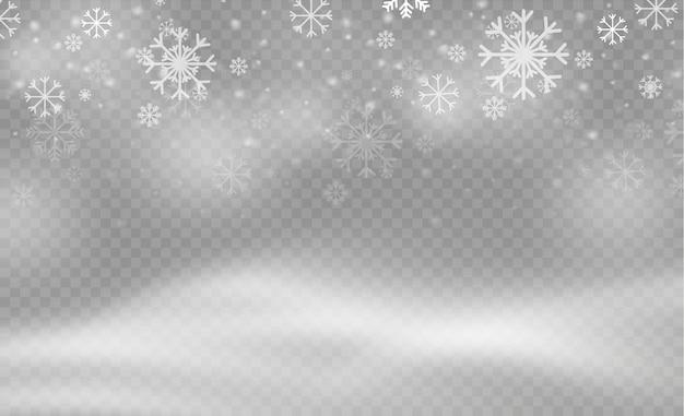 크리스마스 스노우 플레이크 패턴. 폭설, 다양한 모양과 형태의 눈송이. 투명 배경에 많은 흰색 차가운 조각 요소. 마법의 하얀 눈이 텍스처.