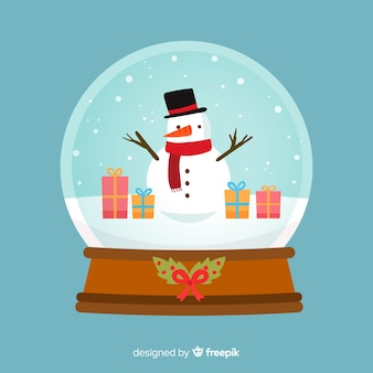 フラットデザインのクリスマススノーグローブの背景