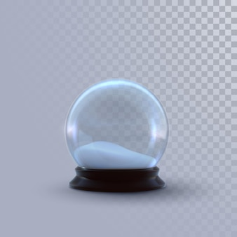Christmas snow globe or glass sphere isolated on checkered transparent background