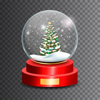 Christmas snow globe. glass sphere..