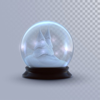 Christmas snow globe isolated on checkered transparent background.  3d illustration. holiday realistic decoration. winter xmas ornament.