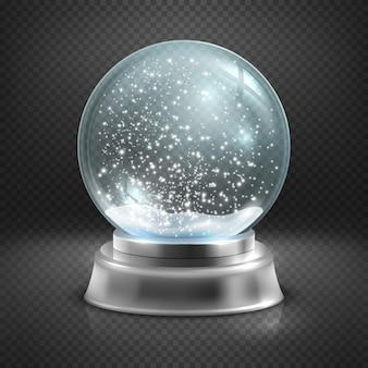 Christmas snow globe isolated on transparent checkered background illustration.