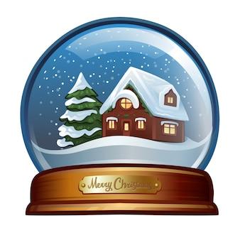 Рождественский снежный шар. изолированные на белом