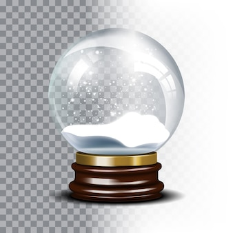 Рождественский снежный шар на клетчатом фоне. волшебный шар со снежинкой, блестящий полупрозрачный, векторные иллюстрации