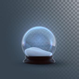 市松模様の透明な背景に分離されたクリスマスのスノードームまたはガラス球