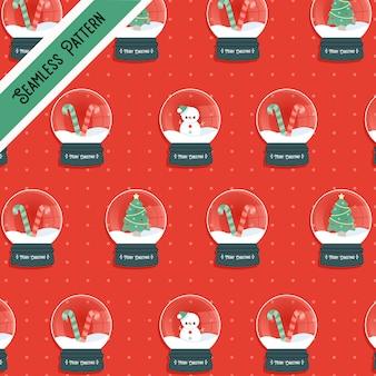Рождественский снежный шар бесшовные модели