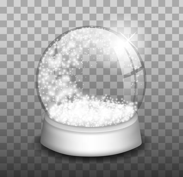 Christmas snow globe. snowglobe. winter christmas design element. glass sphere.