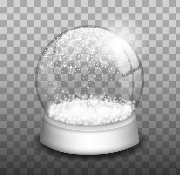 クリスマスのスノードーム。スノードーム。冬のクリスマスのデザイン要素。ガラス球。
