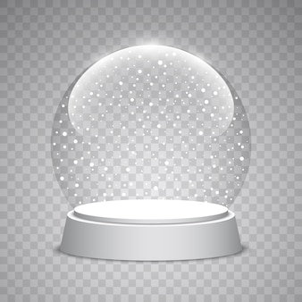 Christmas snow globe on transparent background. glass sphere.  illustration.