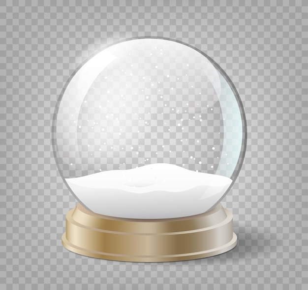 Christmas snow globe on transparent background