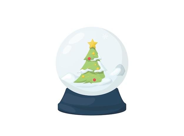 雪とクリスマスツリー、ベクトルイラストとクリスマススノードーム。魔法の冬の休日のガラス地球儀。メリークリスマスクリスタルスノードーム、魔法のグリーティングカードのおもちゃ。光沢のあるホームギフト。