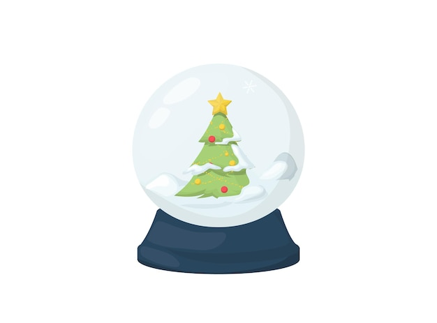 Christmas snow globe with falling snow and christmas tree, vector illustration. magic winter holiday glass globe. merry christmas crystal snowglobe, magical greeting card toy. glossy home gift.