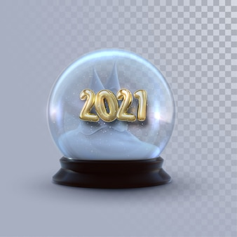 Christmas snow globe with golden 2021 numbers isolated on transparent background.   3d illustration. holiday decoration. winter xmas ornament.