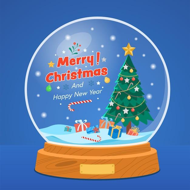 Sfera di neve di natale con albero di pino e confezione regalo su blu stellato.