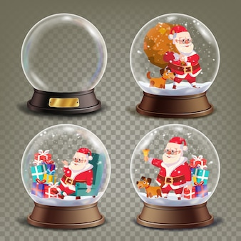 Christmas snow globe with santa claus and gifts