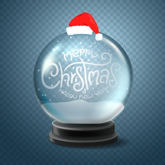 Christmas snow globe with santa hat and lettering inscription merry christmas and happy new year