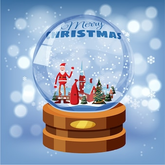 Christmas snow globe with shiny snow santa claus, winter landscape