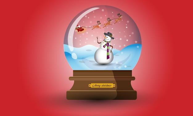 Рождественский снежный шар со снеговиком иллюстрация зимняя коллекция