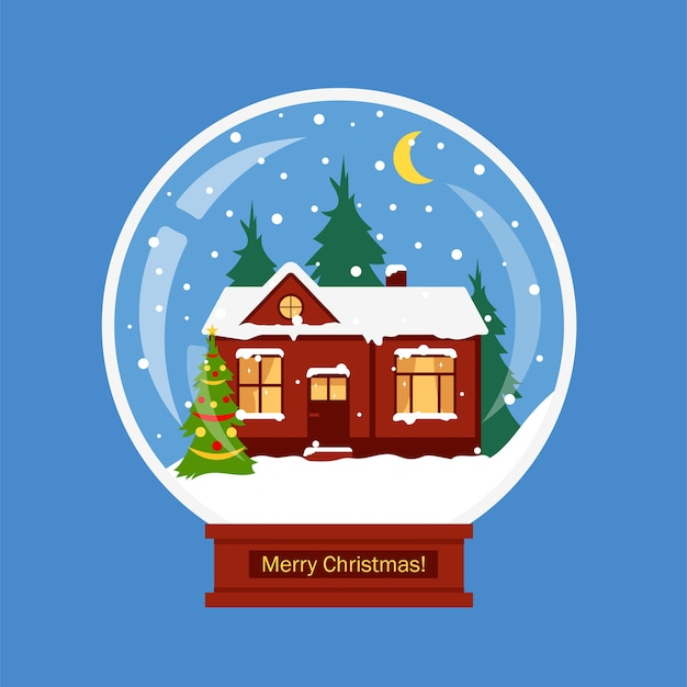 Christmas snow globe with winter house and decorated christmas tree.