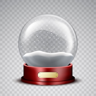 Christmas snow globe with wooden stand and snowflakes.