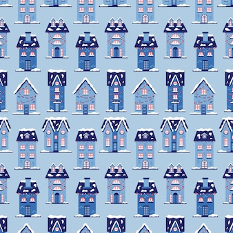 Christmas snow houses pattern. new year background merry christmas. vector illustration in blue shades for gift wrapping