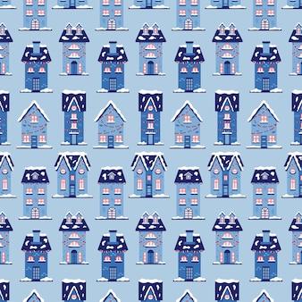 クリスマスの雪の家のパターン。新年の背景メリークリスマス。ギフト包装のための青い色合いのベクトル図