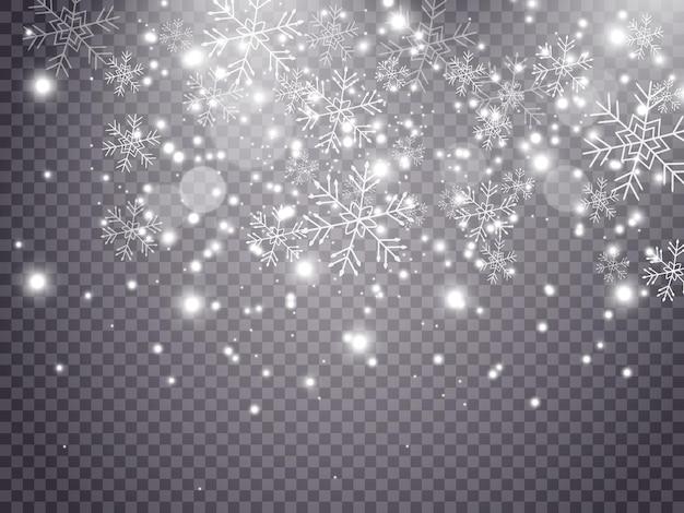クリスマスの雪リアルな雪片透明な背景に雪