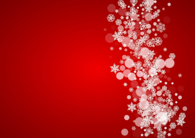 Christmas snow on red background. santa claus colors. horizontal frame for winter banner, gift coupon, voucher, ad, party event. new year and christmas snow design. falling snowflakes for celebration