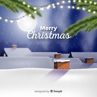 Рождественский фон снежной крыши