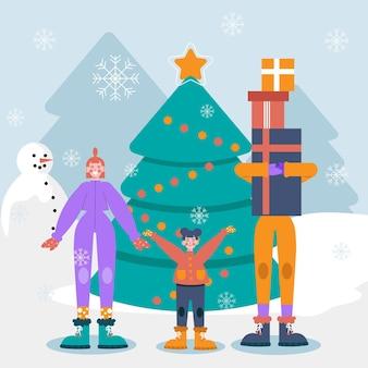 家族と一緒にクリスマスの雪のシーンのイラスト