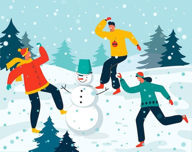 Illustrazione di scena di neve di natale