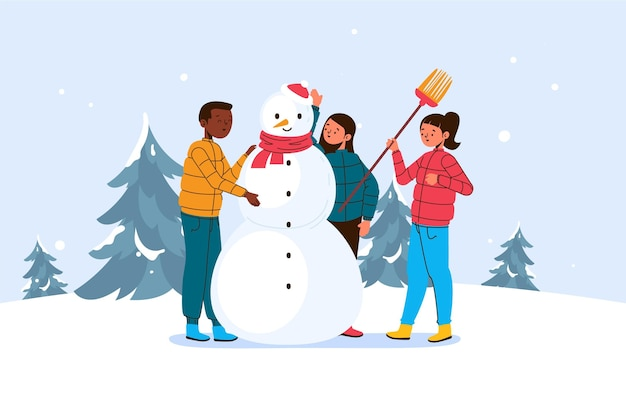 クリスマスの雪のシーンのイラスト