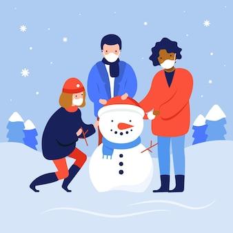 Scena di neve di natale che indossa maschere