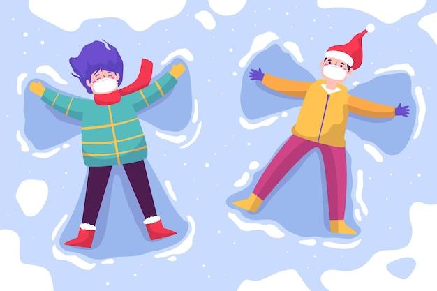 マスクを身に着けているクリスマスの雪のシーン