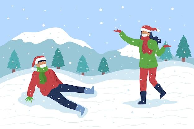 Scena di neve di natale - indossando maschere