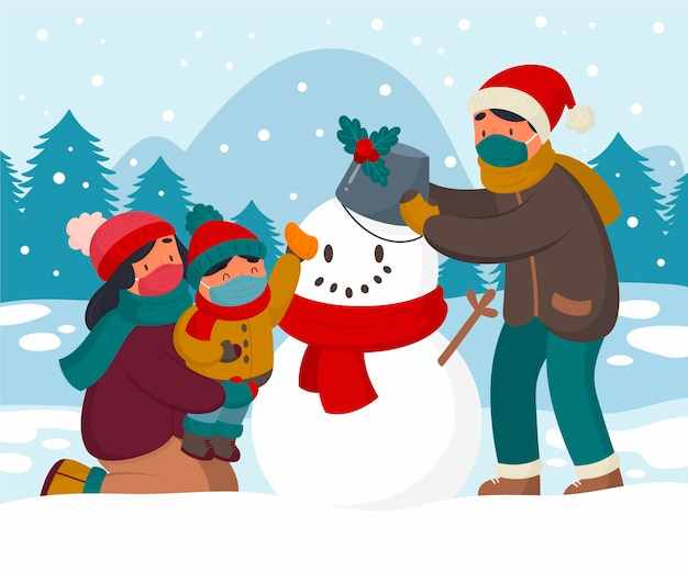 Christmas snow scene - wearing masks