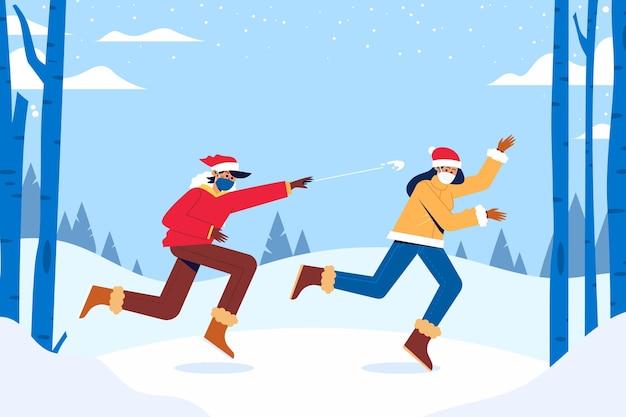 クリスマスの雪のシーン-マスクを着用
