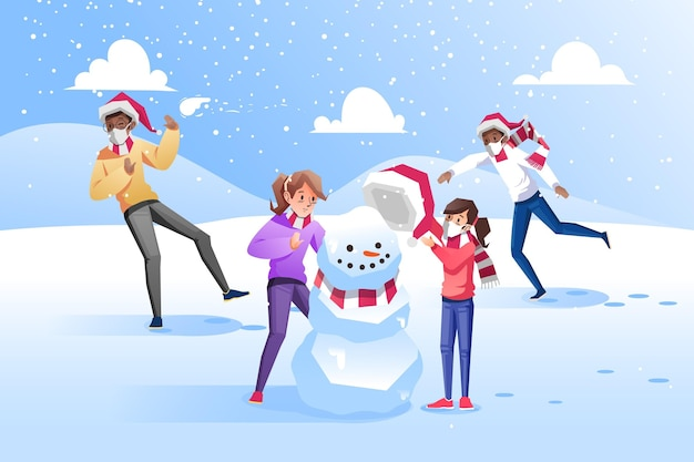 マスクとクリスマスの雪のシーン